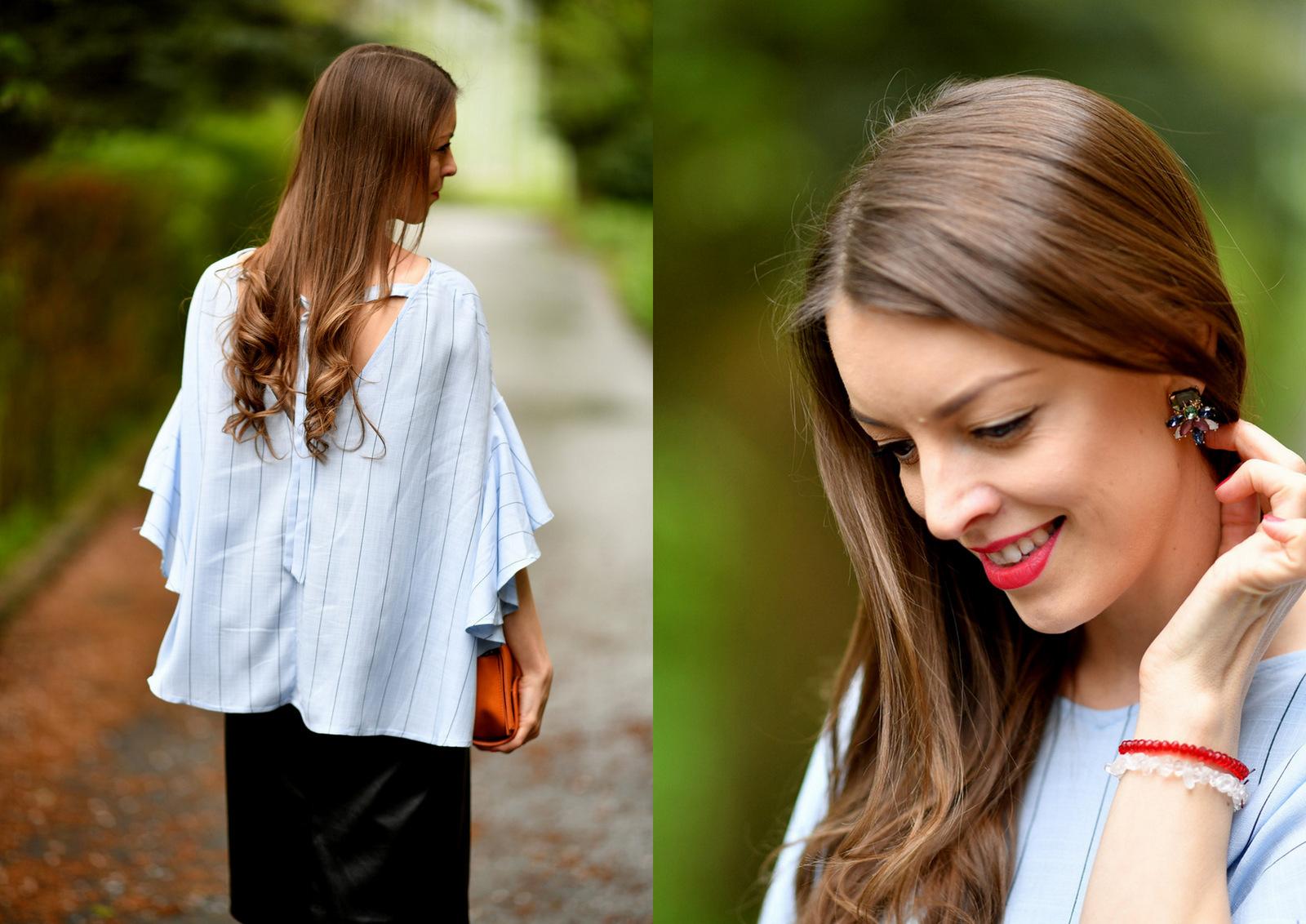 modrá blúzka s koženkovou sukňou // blue striped ruffle sleeve blouse
