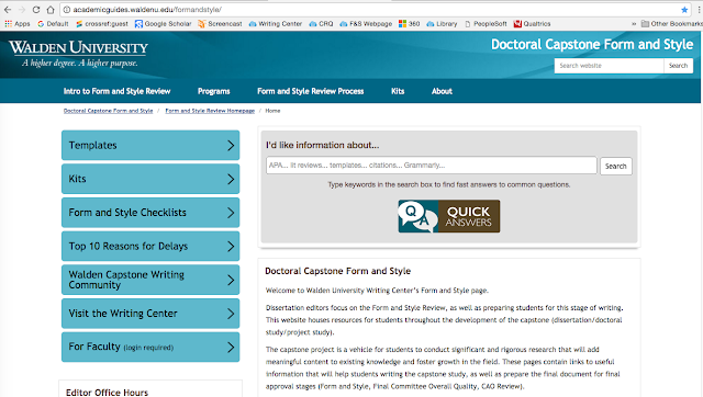 A screen shot of the front page of the new Form and Style Website for Walden University capstone writers