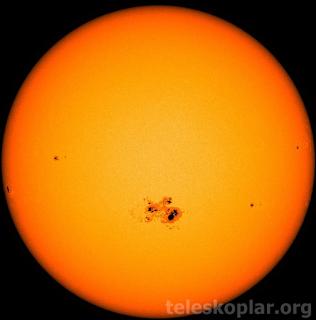 teleskoptan çekilmiş güneş fotoğrafları