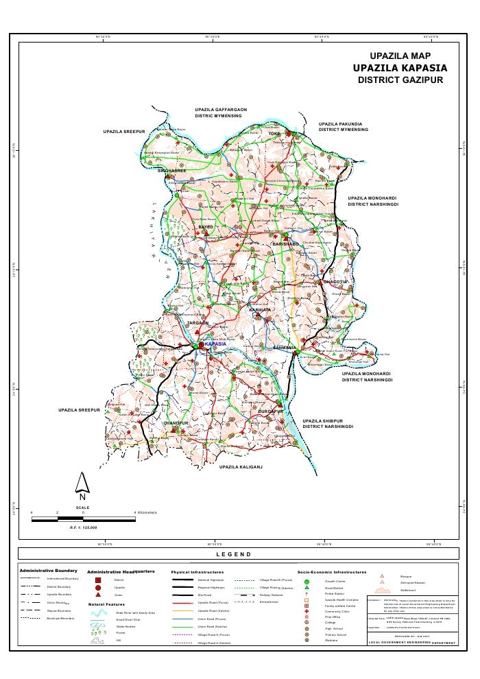 Kapasia Upazila Map Gazipur  District Bangladesh