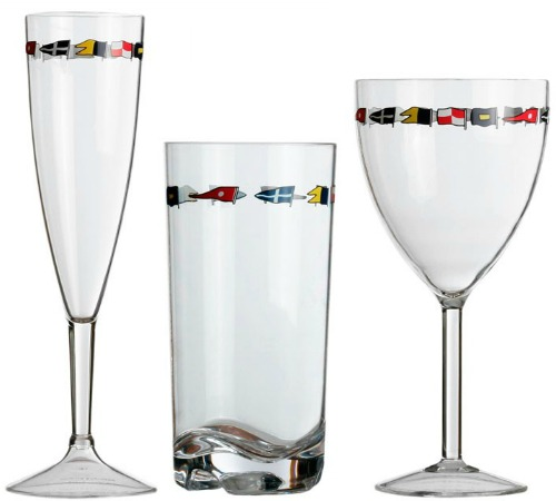 Nautical Drinking Glasses with Flag Designs