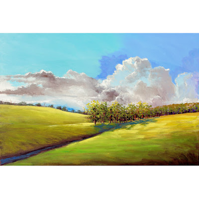 Original acrylic landscape painting trees and cloud billows