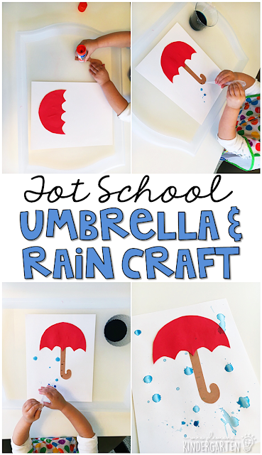 Use eye droppers to make rain for this cute umbrella craft. Great for fine motor practice with a weather theme. Great for tot school, preschool, or even kindergarten!