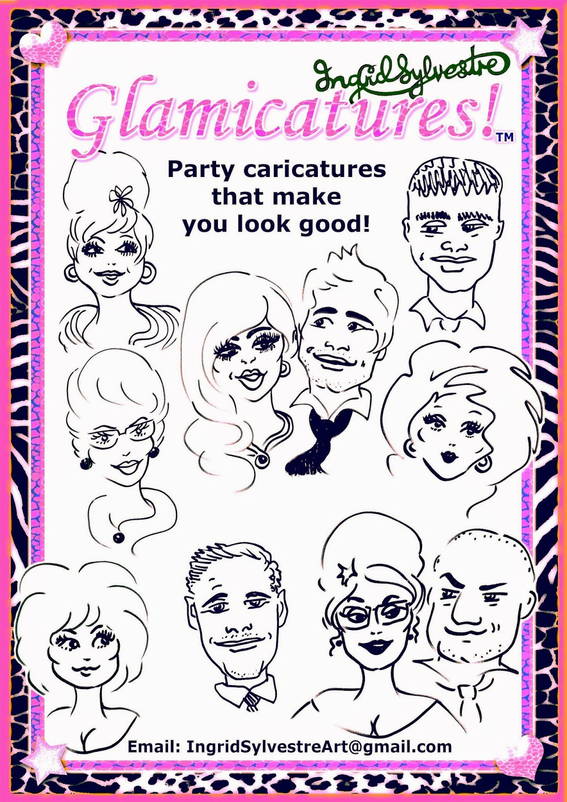 Luxury Wedding Entertainment ideas Glamicatures TM caricatures that make you look good Ingrid Sylvestre UK Wedding Entertainment Unique Wedding Entertainment England Unusual Wedding Entertainment High Class Wedding Entertainment