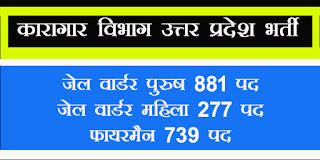 Karagar vibhag bharti Recruitment Uttar Pradesh 2017