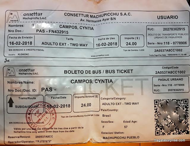 Passagem de ônibus para subir a Machu Picchu
