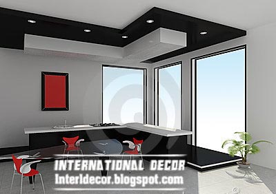 Gibson Board False Ceiling Design For Modern Kitchens Black And White