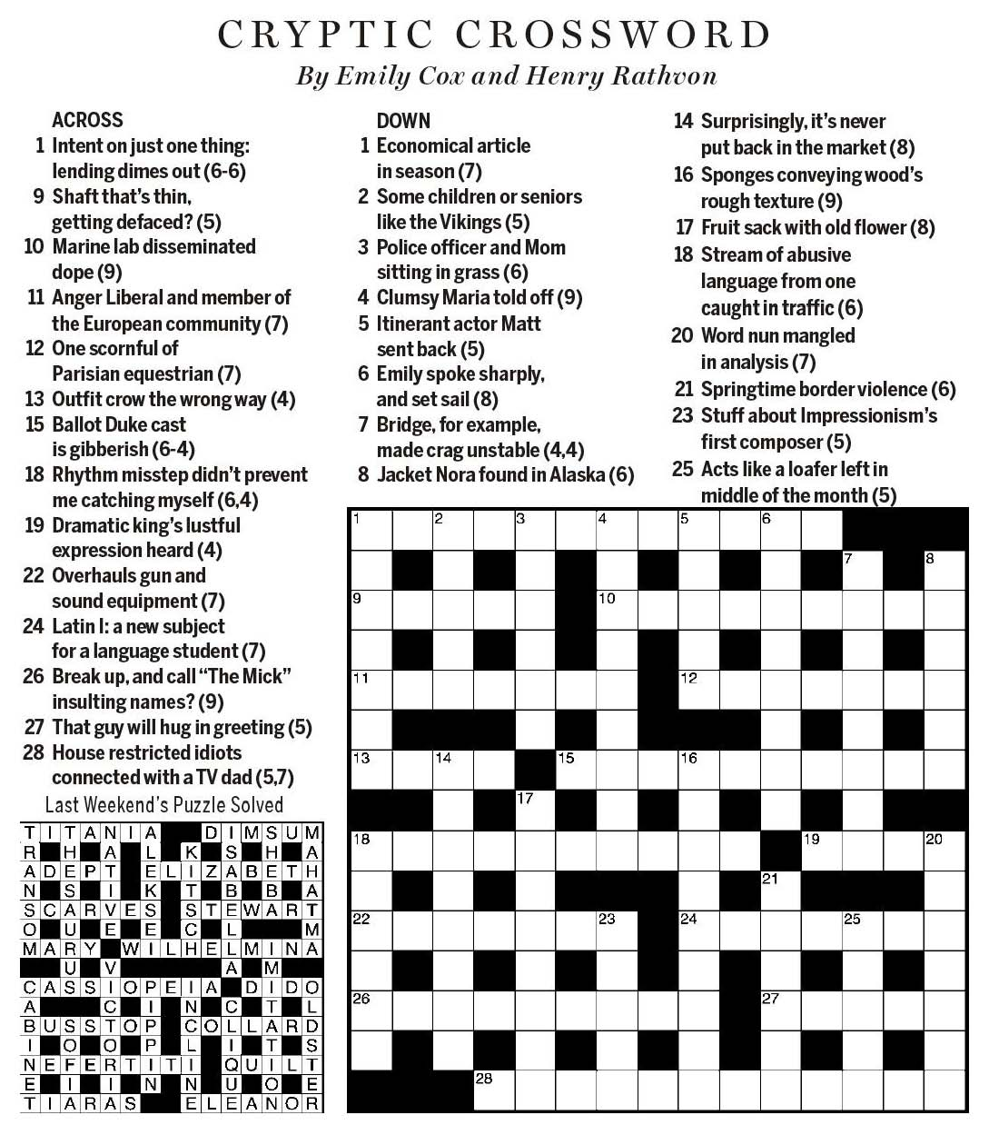 Crossword Puzzle Gallery National Post Cryptic Forum Saturday May 26 2018 Of