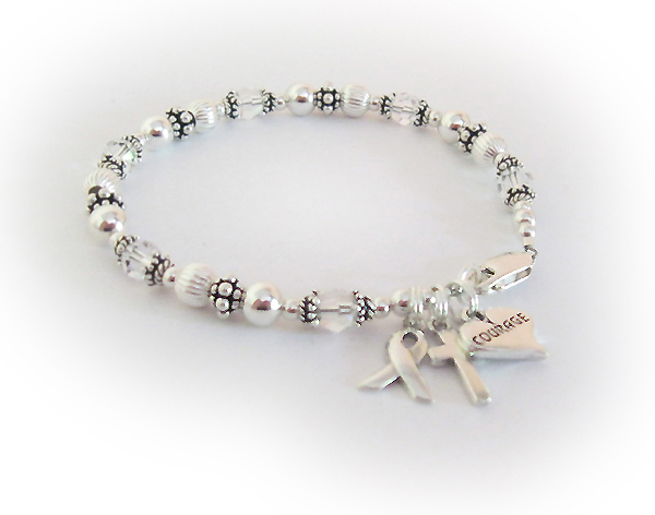 Lung Cancer Awareness Bracelets Clear Ribbon