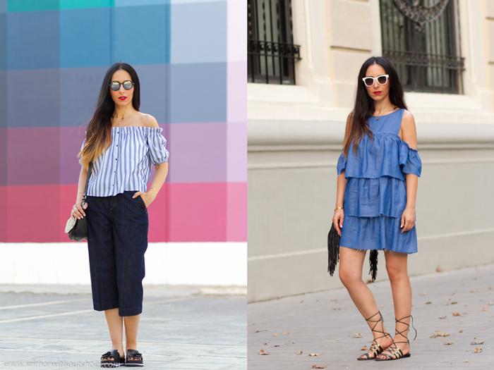 Ideas para vestir a la moda y con estilo femenino elegante hombros al aire y zapatos Magrit