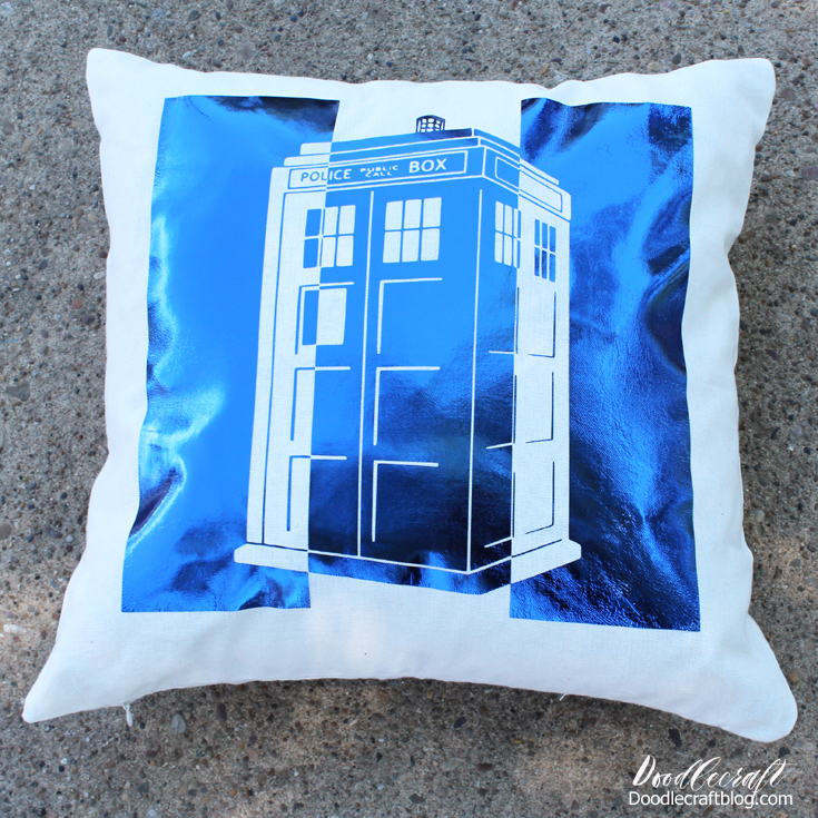 All Opinions And Designs Are My Own Metallic Tardis Pillow With Cricut Explore