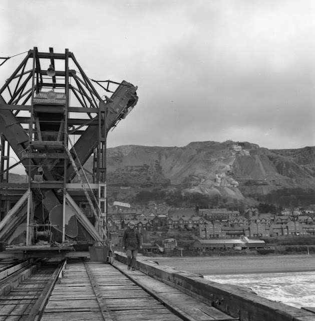 Penmaenmawr Mountain Top Quarry. Ship loading jetty - some of output went by boat to London.