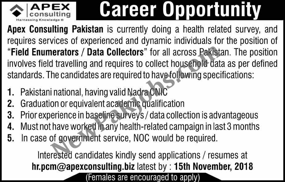 Apex Consulting Pakistan Hiring Staff  10 Nov 2018