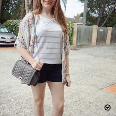 awayfromblue instagram summer shorts outfit print mixing foil stripe tee floral kimono