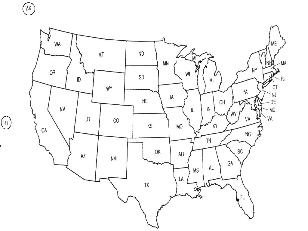 map of united states abbreviations