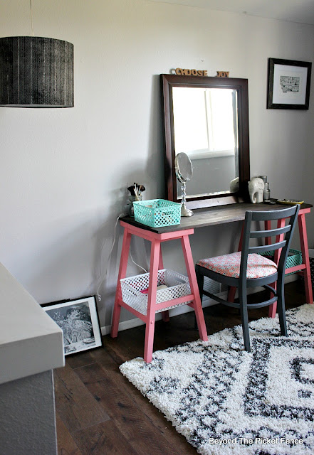 attic bedroom, teen bedroom, vanity, teen decor, DIY, http://bec4-beyondthepicketfence.blogspot.com/2015/10/teen-attic-bedroom-easy-vanity.html