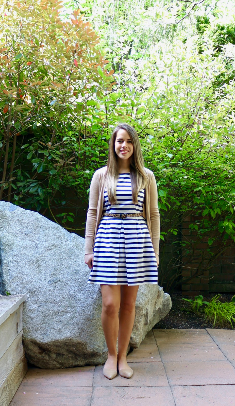 Jules in Flats - Striped Fit and Flare Dress with Leopard Belt and Neutral Accessories (Business Casual Spring Workwear on a Budget)