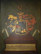 Insemnul heraldic al familiei von Hannenheim, cu completări pentru Stephan Hann von Hannenheim