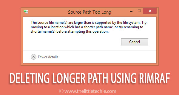 Deleting longer path using rimraf