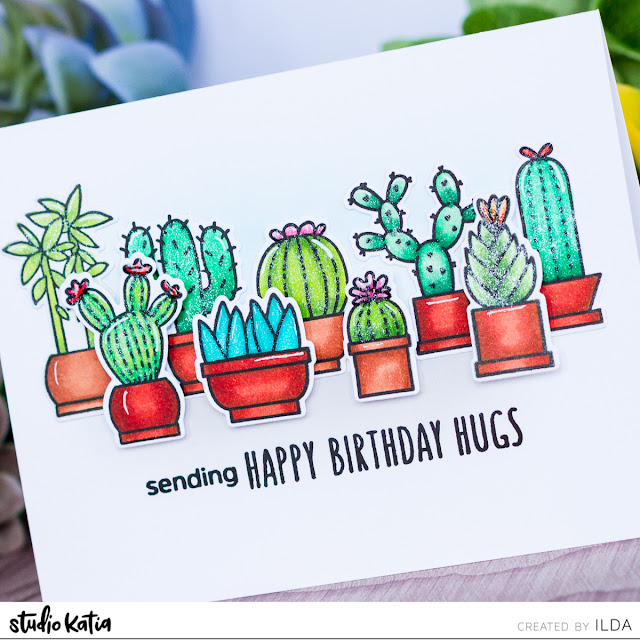 Cactus Hugs Card for Studio Katia Blog Hop by ilovedoingallthingscrafty.com