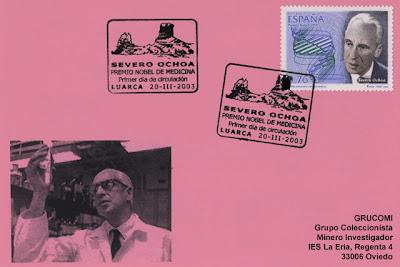 Tarjeta del matasellos PDC del sello del premio Nobel de Medicina Severo Ochoa en Luarca. 20 de marzo.