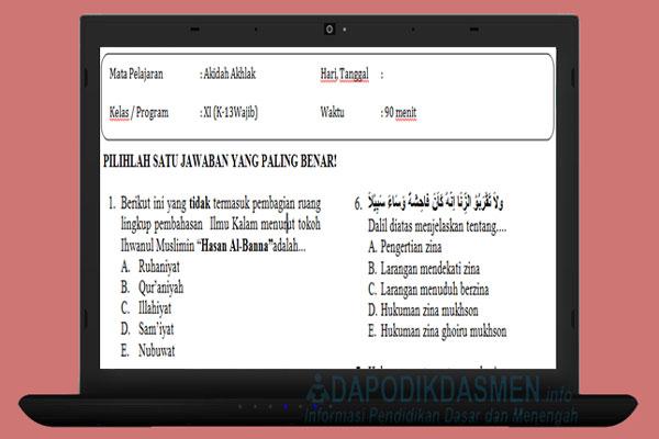 Soal PAT UKK Akidah Akhlak SMA MA Kelas 11 Kurikulum 2013 Tahun 2019