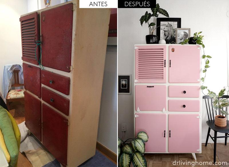 Alacena de cocina vintage - antes y después