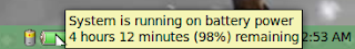 System is running on battery power. 4 hours 12 minutes (98%) remaining  in LinuxMint 13