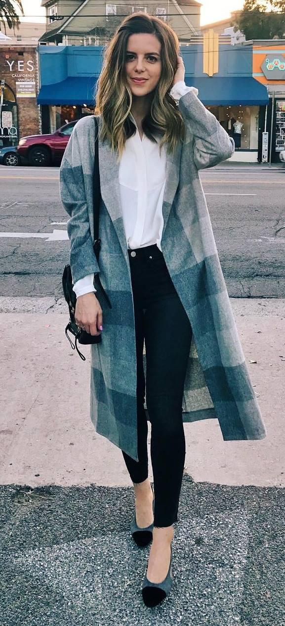 plaid flannel cardi + white shirt + bag + skinnies