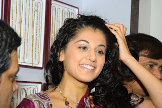 Tapsee Saree Stills at Chandana Brothers Shop Madhapur Opening