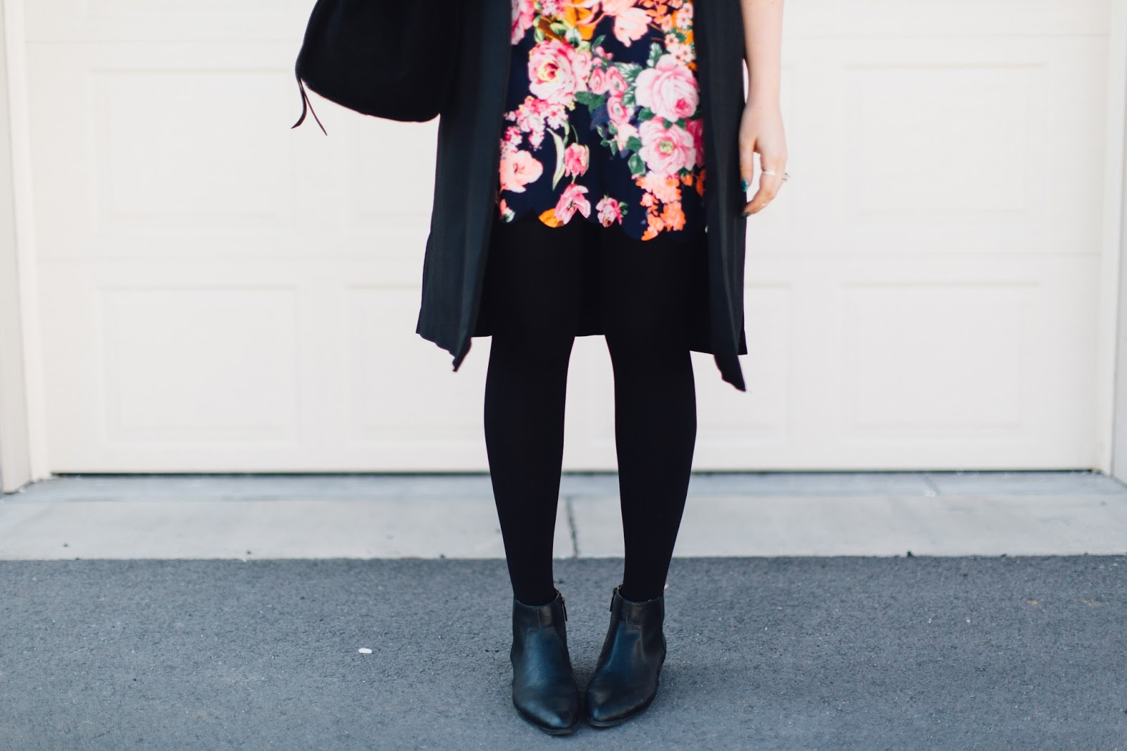 black tights, black booties, floral dress