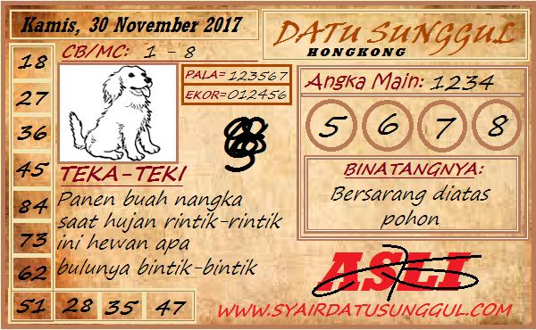 Syair HK Kamis 30-11-2017 - Syair SGP HK