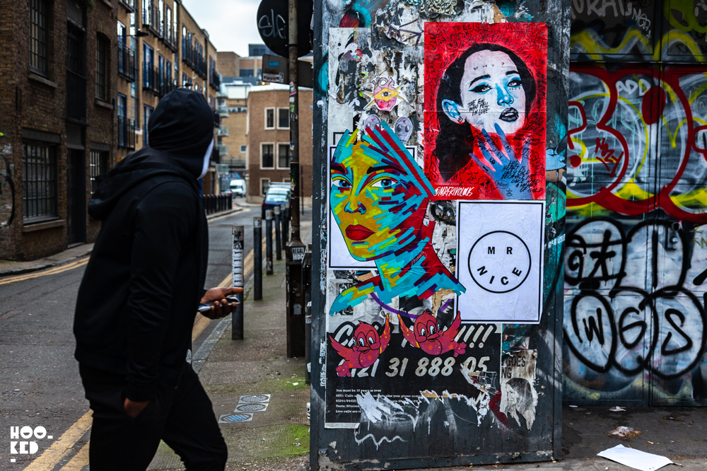 French Street Artist Manyoly revisits London wit new colourful pasteups