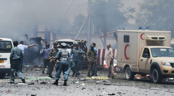 Twin bomb blasts in the Afghan capital Kabul have killed at least 24 people and injured 91 others near the defence ministry, officials say.  The first bomb was detonated remotely while the second was triggered by a suicide bomber, local media reported. ISIS