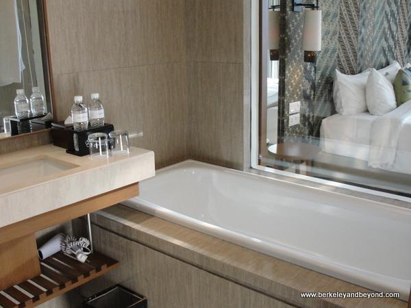 guest room bath at Vasanti Seminyak Resort Bali