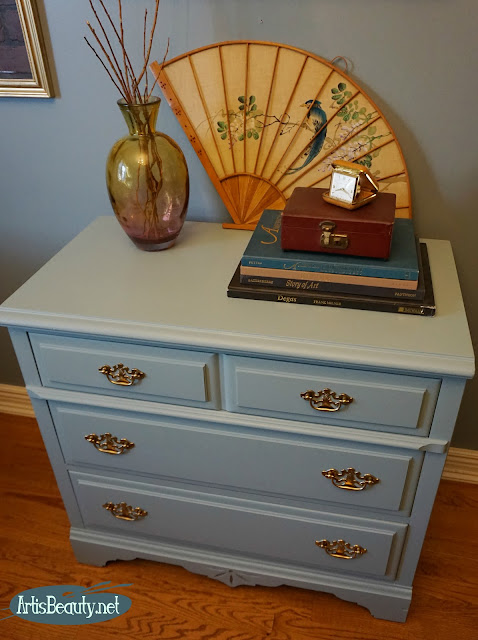 eclectic dresser makeover using general finishes persian blue milk paint regency style boho chic