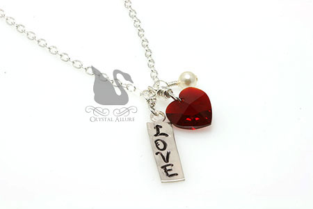 Hand Stamped Love Crystal Red Heart Charm Necklace (N130)