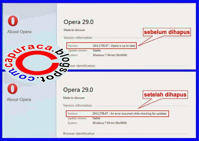 Nonaktifkan Auto Update Opera terbaru