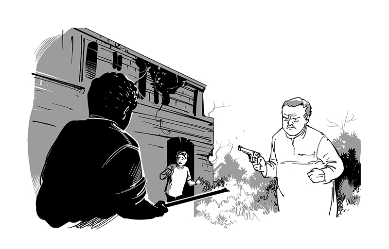 kid's book illustration. black and white drawing for children's magazine. kid's detective story ilustration, man  with gun.