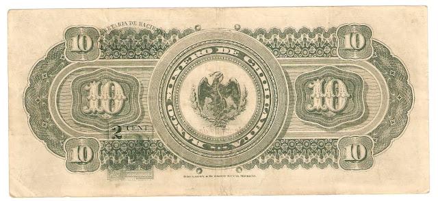 Billetes Mexicanos 10 Pesos Banco Minero de Chihuahua