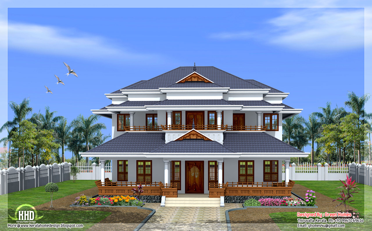 Traditional kerala style home kerala home design and for Kerala style 2 bedroom house plans