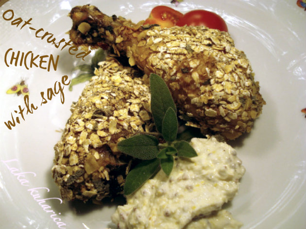 Oat-crusted chicken with sage by Laka kuharica: crusty and aromatic chicken drumsticks with cheese and mustard sauce.