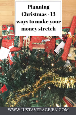Christmas tree and presents with the words Planning Christmas 13 ways to make your money stretch