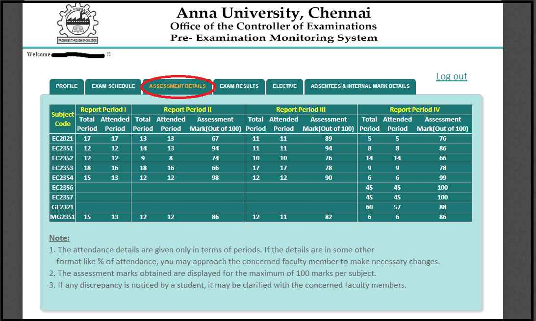 Assessment Details of a Student on coe1.annauniv.edu login Portal