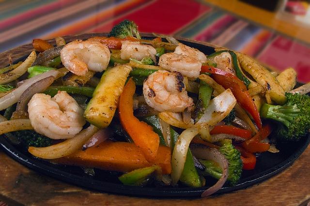 Huge Platter of Shrimp with Assorted Freshly Grilled Colorful Vegetables