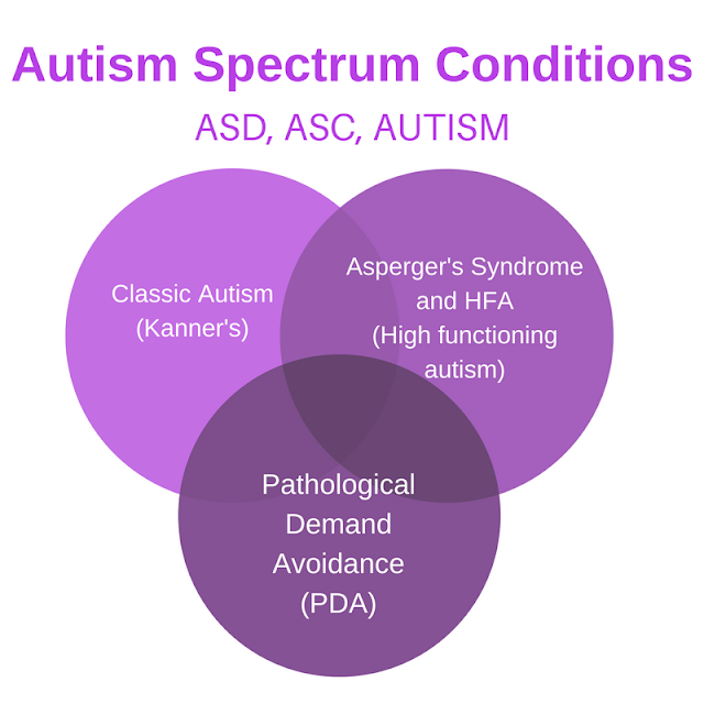 overlapping circles of classic autism, aspergers and PDA