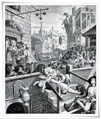 H γκραβούρα Gin Lane του William Hogarth.
