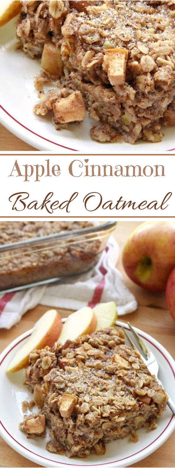 Apple Cinnamon Baked Oatmeal #breakfast #healthy