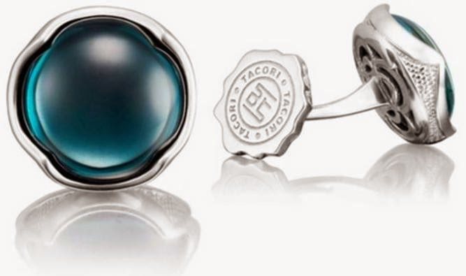 Silver Round Sky Blue over Hematite Cufflinks
