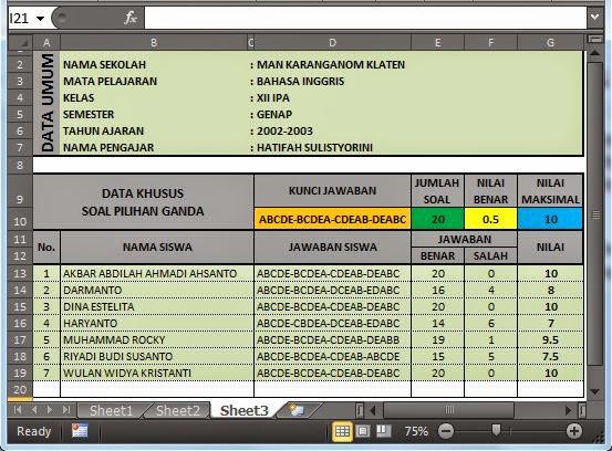 Analisa Jawaban Pilihan Ganda Gubug Excel